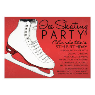Crimson Red Skate Mates Ice Skating Birthday Party Custom Announcements