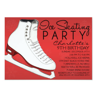 "Crimson Red Skate Mates Ice Skating Birthday Party 5"" X 7"" Invitation Card"