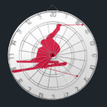 "Crimson Red Snow Ski Dartboard With Darts<br><div class=""desc"">Cool  Crimson Red  snow skiing silhouette.  Great gift for anyone that loves to snow ski!  Perfect for Alpine freestyle snow skier. Images used on this item are licensed and &#169; Graphics Factory.com</div>"