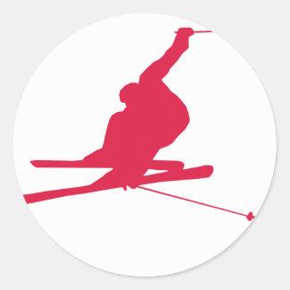Crimson Red Snow Ski Classic Round Sticker