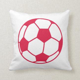 Crimson Red Soccer Ball Throw Pillow