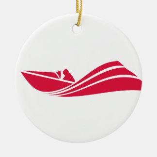 Crimson Red Speed Boat Ceramic Ornament