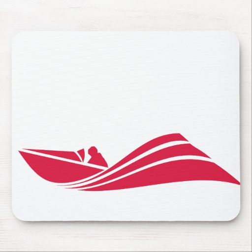 Crimson Red Speed Boat Mouse Pads