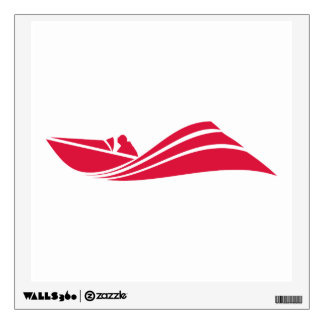 Crimson Red Speed Boat Wall Sticker
