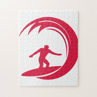 Crimson Red Surfing Jigsaw Puzzle