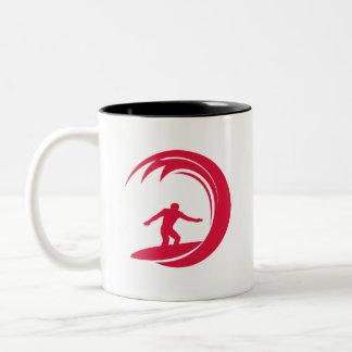 Crimson Red Surfing Coffee Mugs
