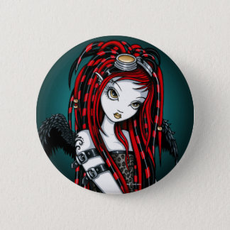 """Crimson"" Red Tattoo Cyber Goth Angel Button"