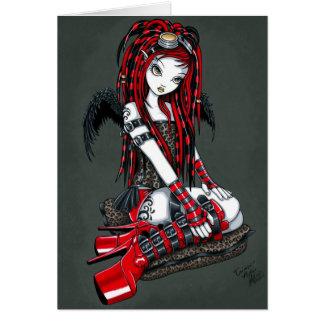 """""""Crimson"""" Red Tattoo Cyber Goth Angel Card"""