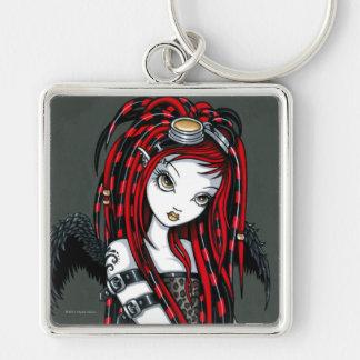 """Crimson"" Red Tattoo Cyber Goth Angel Keychain"
