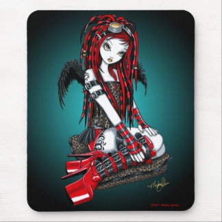 """Crimson"" Red Tattoo Cyber Goth Angel Mousepad"