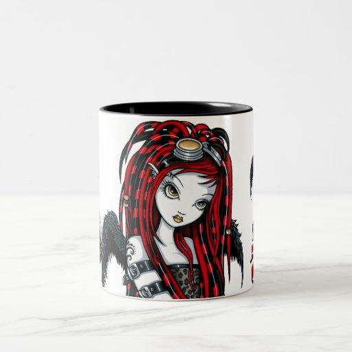 """""""Crimson"""" Red Tattoo Cyber Goth Angel Mug"""