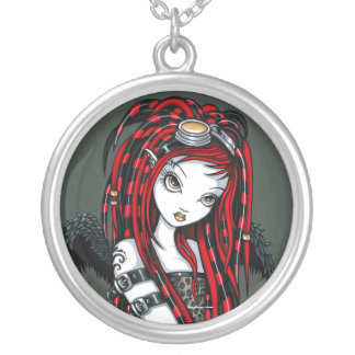 """Crimson"" Red Tattoo Cyber Goth Angel Necklace"