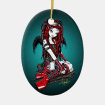 crimson, faery, fairy, angel, faerie, fae, cyber, goth, pop, cybergoth, gothic, tattoo, red, hot, boots, stilettos, fantasy, art, myka, jelina, hair, falls, goggles, angels, Ornament with custom graphic design