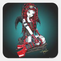 crimson, faery, fairy, angel, faerie, fae, cyber, goth, pop, cybergoth, gothic, tattoo, red, hot, boots, stilettos, fantasy, art, myka, jelina, hair, falls, goggles, angels, Sticker with custom graphic design