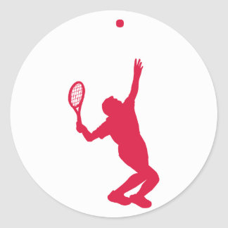 Crimson Red Tennis Classic Round Sticker