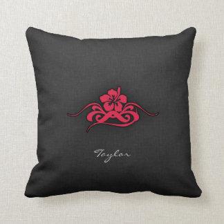 Crimson Red Tribal Hibiscus Pillow