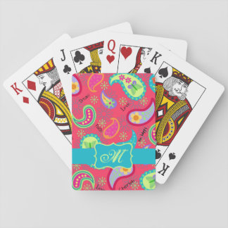 Crimson Red Turquoise Blue Modern Paisley Monogram Playing Cards