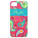 Crimson Red Turquoise Modern Paisley Pattern iPhone 5 Case