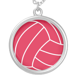 Crimson Red Volleyball Silver Plated Necklace