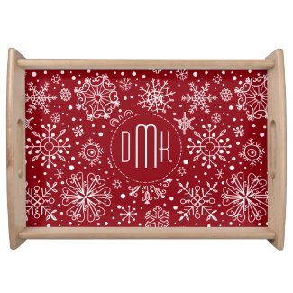 Crimson Red & White Abstract Christmas Snowflakes Food Tray