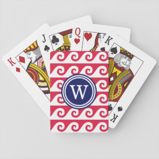 Crimson Red White GK Waves 2x1I Navy Blue Round Playing Cards
