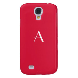 Crimson Red with White Monogram Samsung Galaxy S4 Cover