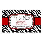 Crimson Red Zebra Print Hair Salon Business Card