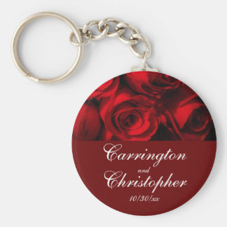 """Crimson Rose Bouquet"" - Personalized [a] Keychain"