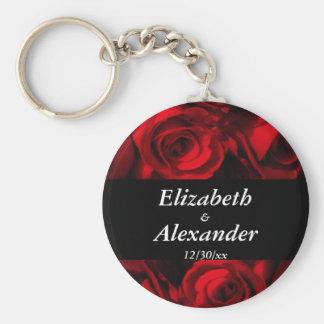 """Crimson Rose Bouquet"" w/ Black Stripe [a] Keychain"