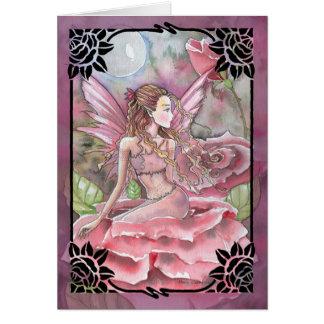 Crimson Rose Fairy Blank Greetin Card