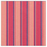 [ Thumbnail: Crimson, Salmon & Midnight Blue Colored Pattern Fabric ]