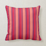 [ Thumbnail: Crimson, Salmon & Midnight Blue Colored Pattern Throw Pillow ]