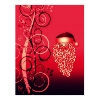 Crimson Santa face Christmas postcard