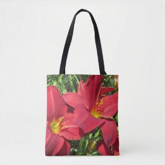 Crimson Shadows Red Day Daylilies, geometric s-2 Tote Bag