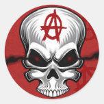 Crimson Skull Anarchy Classic Round Sticker
