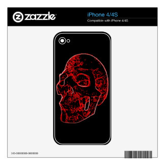 Crimson Skull iphone 4/4s zazzle skin iPhone 4S Decals
