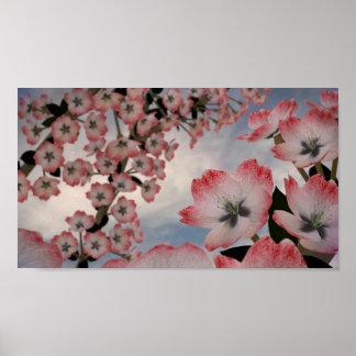 Crimson Snow Blossom Poster