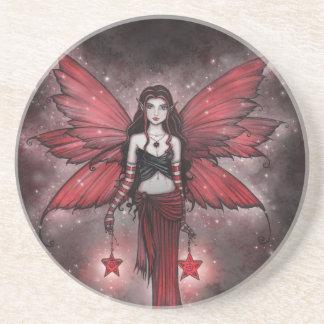 Crimson Star Christmas Fairy Coaster