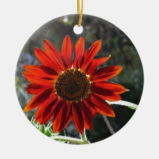 Crimson Sunflower Double-Sided Ceramic Round Christmas Ornament