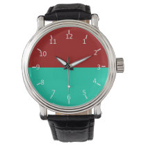 Crimson Sunset Over Water Wrist Watch