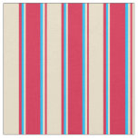 [ Thumbnail: Crimson, Tan, and Deep Sky Blue Colored Lines Fabric ]
