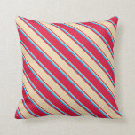[ Thumbnail: Crimson, Tan, and Deep Sky Blue Colored Lines Throw Pillow ]