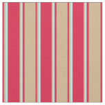 [ Thumbnail: Crimson, Tan, and Turquoise Stripes/Lines Pattern Fabric ]