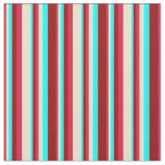 [ Thumbnail: Crimson, Tan, Aqua, and Dark Red Stripes Pattern Fabric ]