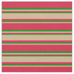 [ Thumbnail: Crimson, Tan & Green Pattern Fabric ]