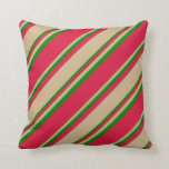 [ Thumbnail: Crimson, Tan & Green Pattern Throw Pillow ]
