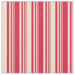 [ Thumbnail: Crimson & Tan Stripes Pattern Fabric ]