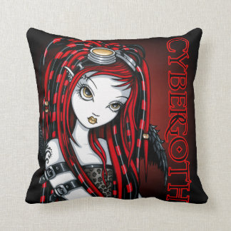 Crimson Tattoo Cybergoth Angel Throw Pillow