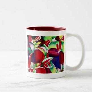 Crimson tropical Singapore Orchids flower art Two-Tone Coffee Mug