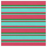 [ Thumbnail: Crimson, Turquoise, and Dark Green Stripes Fabric ]